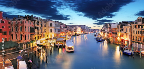 Poster Venetie Panorama of Venice from Rialto bridge