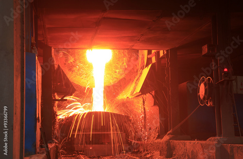 Valokuva  Steelmaking workshop,sparks fly, very beautiful