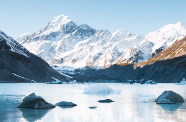 Stones and icebergs on Hooker Lake, Hooker Glacier, New Zealand