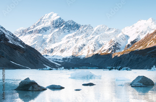 Poster Glaciers Stones and icebergs on Hooker Lake, Hooker Glacier, New Zealand