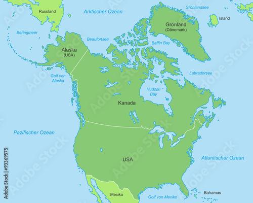 Golf Von Alaska Karte.Nordamerika Karte In Grun Buy This Stock Vector And