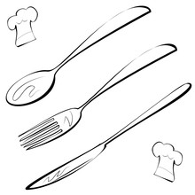 Line Art Cutlery, Fork, Knife,...