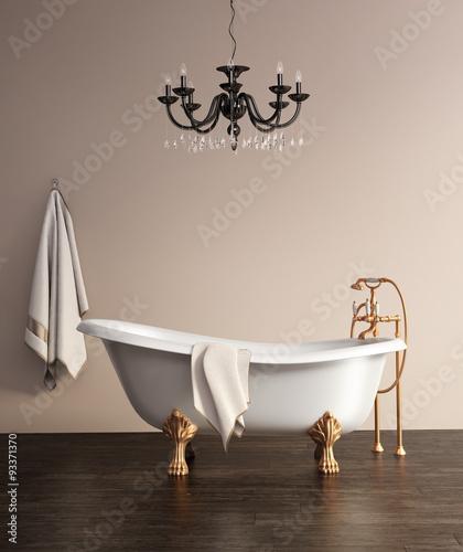 Foto op Plexiglas Retro Vintage classic bathtub with copper hardware
