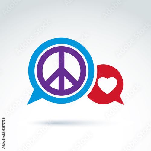 Love And Peace Dialog Vector Conceptual Icon Vector Symbol Buy