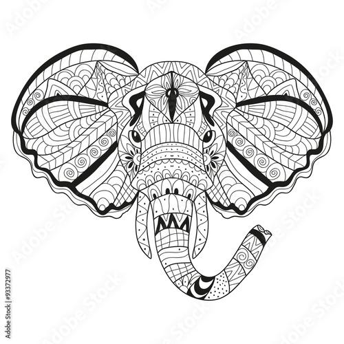 Printed kitchen splashbacks Watercolor skull hand drawn decorative elephant