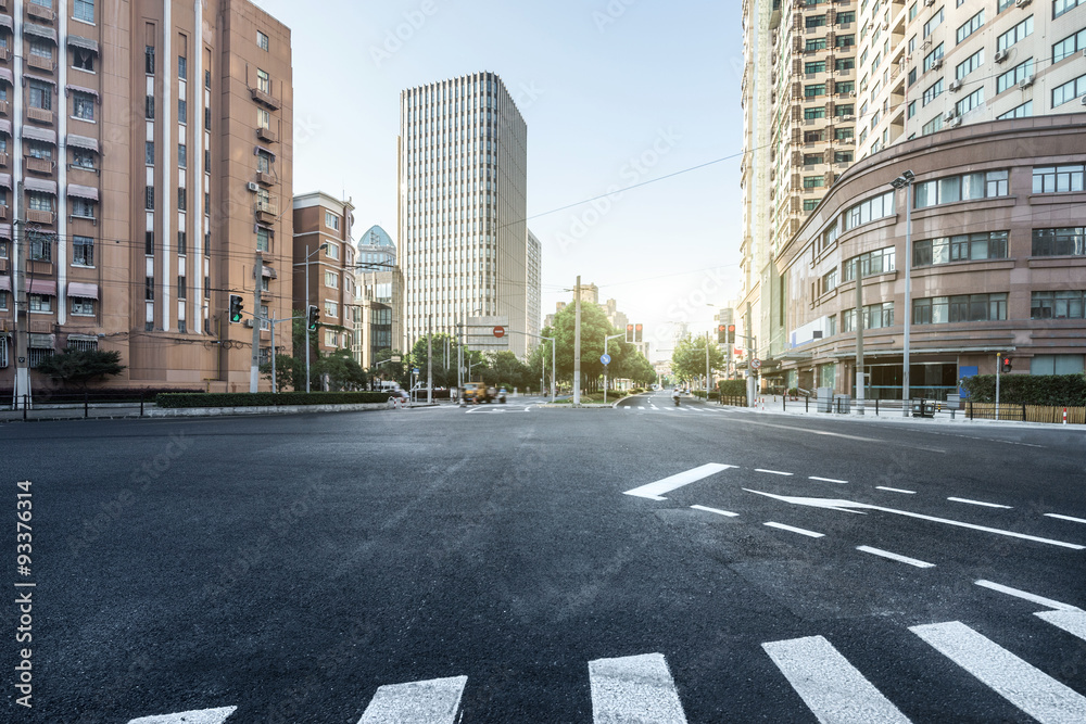 Fototapety, obrazy: empty asphalt road of a modern city with skyscrapers