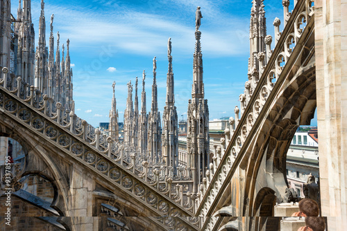 Photo  Statues on the roof of famous Milan Cathedral Duomo