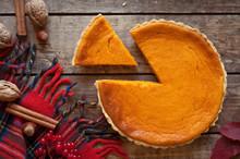 Sweet Delicious Natural Pumpkin Tart Pie Dessert Sliced On