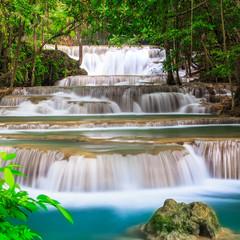 Panel Szklany Podświetlane Do łazienki Waterfall in Deep Forest
