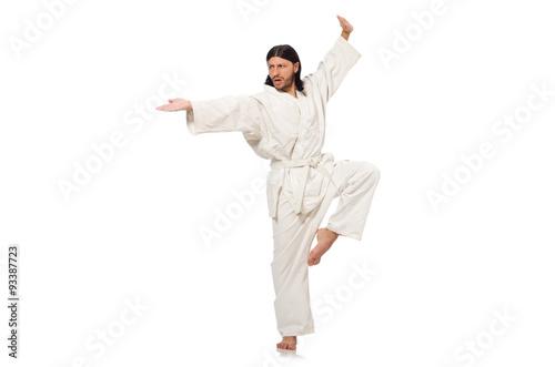 Deurstickers Vechtsport Karate fighter isolated on white