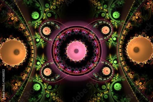 Fotobehang Fractal waves Fractal spiral. Fractal art background for creative design. Decoration for wallpaper desktop, poster, cover booklet. Abstract texture. Psychedelic. Print for clothes, t-shirt.