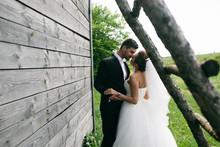 Beautiful Young Wedding Couple Outdoors
