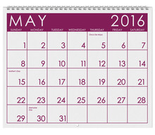 2016 Calendar: Month Of May With Memorial Day