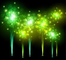 Festive Green Firework Background.