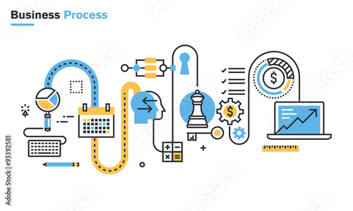 Fotografía  Flat line illustration of business process, market research, analysis, planning, business management, strategy, finance and investment, business success