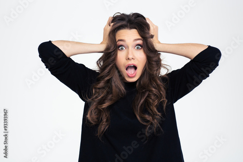 Fotografia, Obraz  Portrait of a shocked woman with mouth open