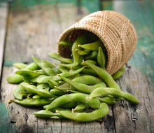 Green Soy Beans In The Basket ...