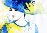 Beautiful face. woman portrait with hat. abstract watercolor .fashion background - 93398336