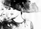 Piękna twarz. portret kobiety w kapeluszu. streszczenie akwarela. moda tło - 93398368