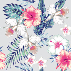 Fototapetahibiscus and orchids tropical seamless background