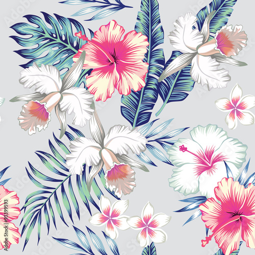 hibiscus and orchids tropical seamless background - 93399593