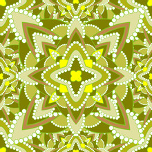 Yellow Green Floral Seamless Pattern