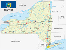 New York State Road Map With F...
