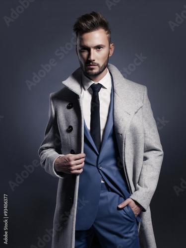 Fotografie, Tablou  Handsome stylish man in autumn coat