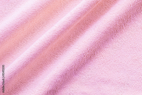 Poster Tissu Closeup wrinkled pink napkin fabric background