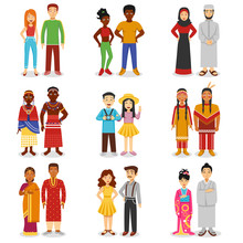 National Couples Icons Set