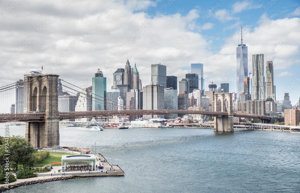 Fototapety, obrazy: New York city night skyline from Brooklyn bridge