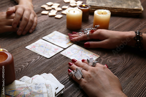 Witch - fortune teller reading fortune close up Canvas Print