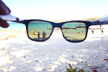 Sunglasses On A Sandy Beach Concept Summer