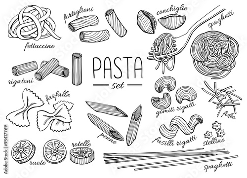 Fotografering Vector hand drawn pasta set. Vintage line art illustration