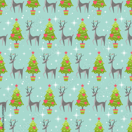 Stoffe zum Nähen Süße Weihnachten Musterdesign Hintergrund mit Weihnachtsbaum ein