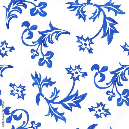 Vector Seamless Porcelain Pattern in White Background Wallpaper Mural