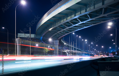 Fotobehang Nacht snelweg Motorway and elevated road