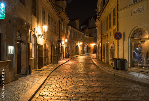 Printed kitchen splashbacks Prague Night view of old street in Mala Strana (Little Quarter) in Prague. Czech Republic