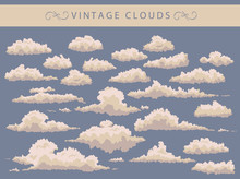 Set Of Vintage Clouds On A Blu...