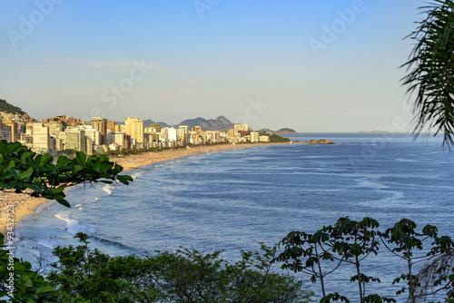 Photo View of Arpoador, Ipanema and Leblon beaches in Rio de Janeiro