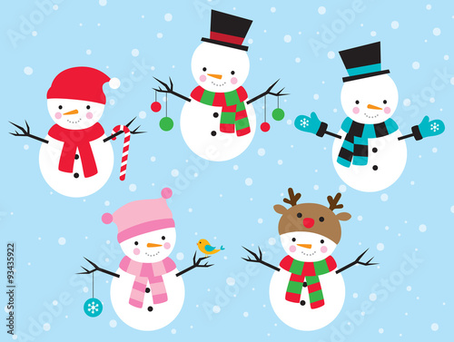 Vector illustration of snowman dress up in different costumes. Poster