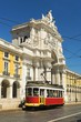 retro tram on the streets of Lisbon