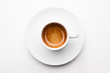 canvas print picture - top view a cup of espresso coffee isolated on white background