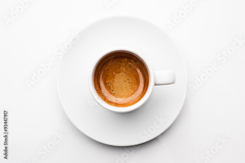 top view a cup of espresso coffee isolated on white background