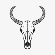 Bull Skull Vector Illustration. Black On White.