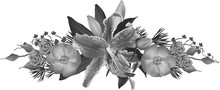 Isolated Light Grey Lily Bloom And Rose Flowers