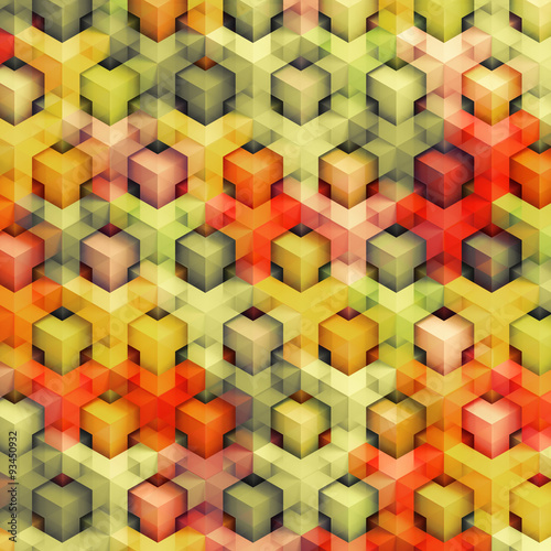 Colorfull vintage 3D boxes background - vibrance cubes pattern