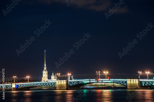 Foto op Canvas Dubai Beautiful night view of Saint-Petersburg, Russia