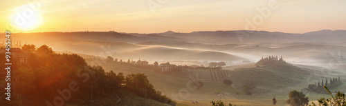 Farm house Belvedere at sunrise, near San Quirico, Val d'Orcia (Orcia Valley), UNESCO World Heritage Site, Siena Province, Tuscany, Italy, Europe