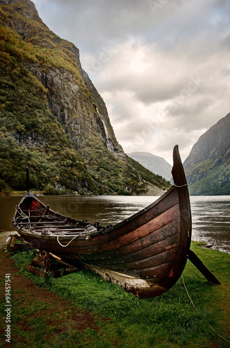 Old viking boat in Sognefjord, Norway Canvas Print